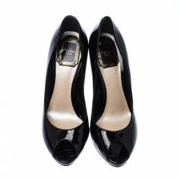Dior Black Patent Leather Peep Toe Platform Pumps Size 36.5 227984