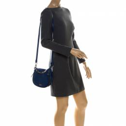 Karl Lagerfeld Blue Leather Small K Crossbody Bag