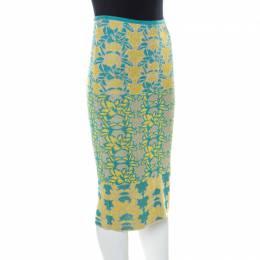M Missoni Blue & Yellow Floral Knit Lurex Pencil Skirt S 227686