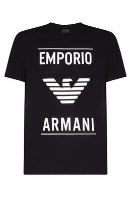 Черная футболка с крупным логотипом Emporio Armani 2706154439