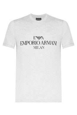 Серая меланжевая футболка с логотипом Emporio Armani 2706154417