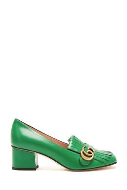Зеленые лоферы GG Marmont Gucci 470154539