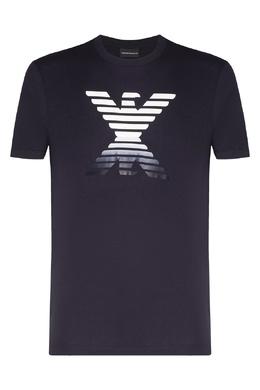 Темно-синяя футболка с принтом Emporio Armani 2706154437