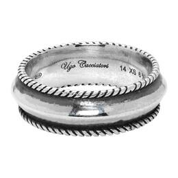 Ugo Cacciatori Silver Edge Band Ring 192045M14700704GB