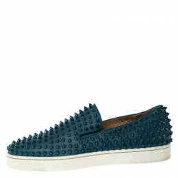 Christian Louboutin Blue Leather Roller Boat Spike Slip On Sneakers Size 41.5