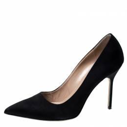 Manolo Blahnik Black Satin BB Pointed Toe Pumps Size 39.5