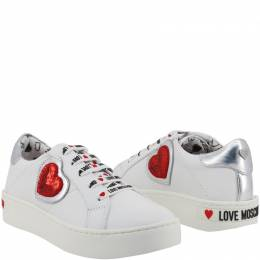 Love Moschino White Faux Leather Platform Sneakers Size 39 229168