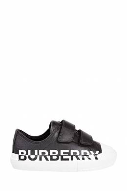 Черные кеды с фирменным логотипом Burberry Kids 1253154076