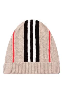 Бежевая шапка-бини с контрастной отделкой Burberry Kids 1253154071