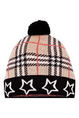 Бежевая шапка с отделкой и помпоном Burberry Kids 1253154070