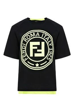 Комбинированная футболка с фирменной символикой Fendi Kids 690154009