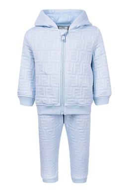 Светло-голубой костюм с фактурной отделкой Fendi Kids 690154038