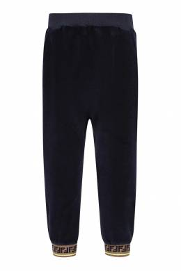 Темно-синие брюки-джоггеры с отделкой Fendi Kids 690154037