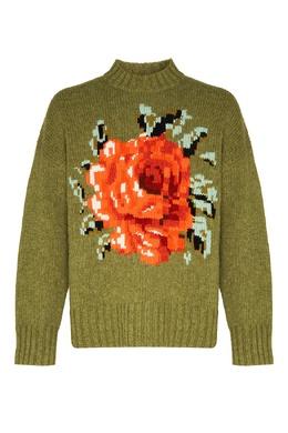 Зеленый джемпер с цветком Ami 1376154502
