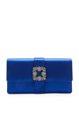 Синий атласный клатч с пряжкой Capri Manolo Blahnik 166153653