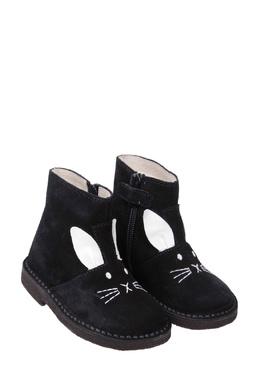 Черные замшевые ботинки с отделкой Il Gufo 1205154080