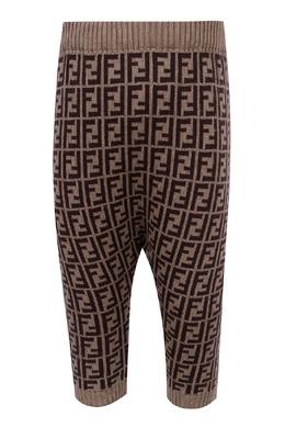 Коричневые вязаные брюки с монограммами Fendi Kids 690154063