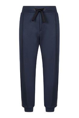 Синие брюки-джоггеры с фирменными лампасами Fendi Kids 690154019