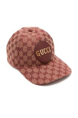 Коричневая кепка с узором и логотипом Gucci Man 2674154698