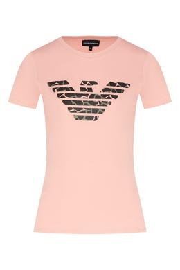 Футболка розового цвета с эмблемой Emporio Armani 2706154458