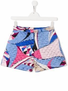 Emilio Pucci Junior стеганые шорты с принтом 9L6219LB790