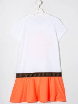Fendi Kids - платье из джерси с контрастным подолом 0803AJ95580596000000