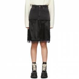 Mm6 Maison Margiela Black Denim Overlay Mid-Length Skirt 192188F09200302GB