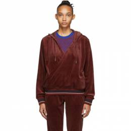 Opening Ceremony Red Velour Wrap Hoodie 192261F09701203GB