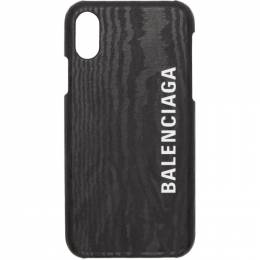 Balenciaga Black Leather Logo iPhone X/XS Case 192342M15300101GB