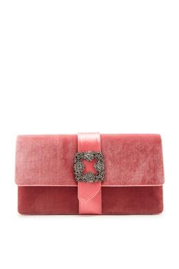 Розовый бархатный клатч с пряжкой Capri Manolo Blahnik 166153596