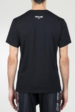 Черная футболка со стилизованным принтом Roberto Cavalli 314155135