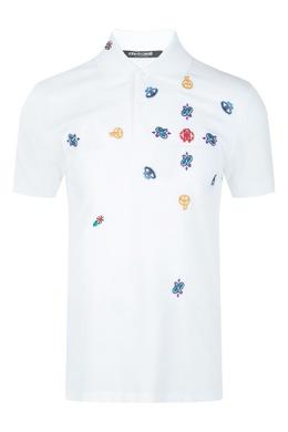 Белое поло с контрастной вышивкой Roberto Cavalli 314155148