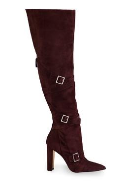 Пурпурные замшевые ботфорты с пряжками Josimhi Manolo Blahnik 166153706