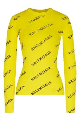 Желтый джемпер в рубчик с логотипами Balenciaga 397154748
