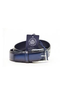 Синий ремень с серебристой пряжкой Pellettieri Di Parma 2996154620