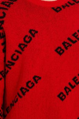 Красный джемпер с контрастными логотипами Balenciaga 397154681