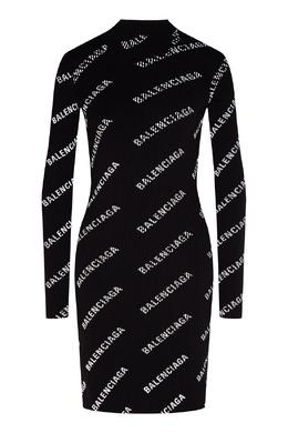 Черное облегающее платье с логотипами Balenciaga 397154686