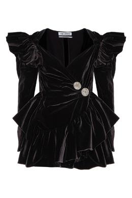 Черное бархатное платье мини с драпировками Attico 1869154994