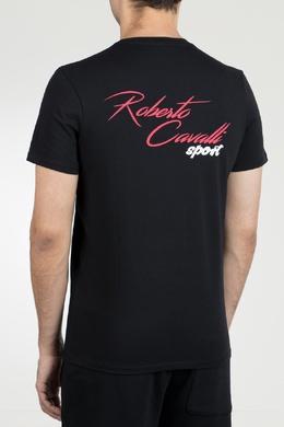 Черная футболка с принтами и нашивкой Roberto Cavalli 314155166