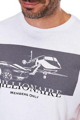 Белая хлопковая футболка с принтом Billionaire 1668116956