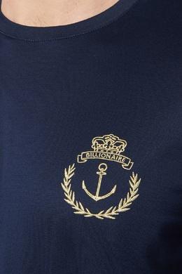 Синяя хлопковая футболка с вышивкой Billionaire 1668116994