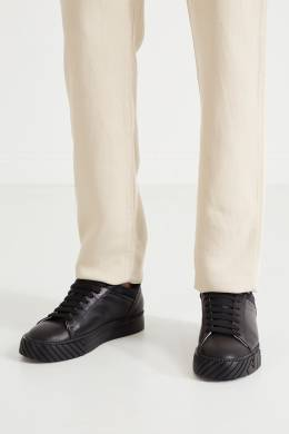 Черные кожаные кеды Emporio Armani 2706126994