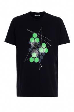 Черная футболка с комбинированным принтом Bikkembergs 1487128395
