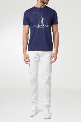 Синяя футболка с серебристым принтом Billionaire 1668131814