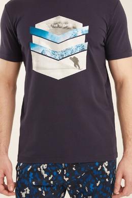 Темно-синяя футболка с принтом Bikkembergs 1487128421