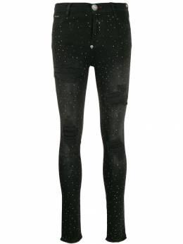 Philipp Plein - джинсовые легинсы с кристаллами CWDT9055PDE665N95553