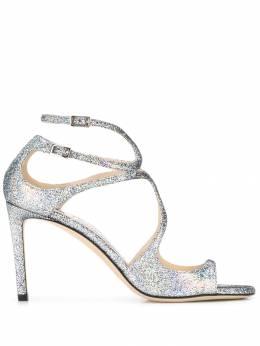Jimmy Choo - cutout 100mm glittered leather sandals TTEHGH95533999000000