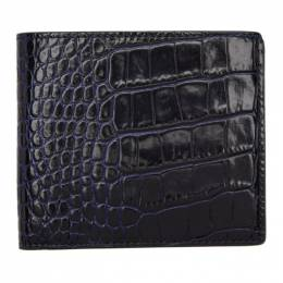 Smythson Navy Croc Mara 6 Card Wallet 192087M16400501GB