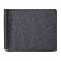 Smythson Navy Panama Money Clip Wallet 192087M16400401GB