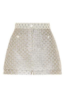 Золотистая юбка-шорты с узором Maje 888153605